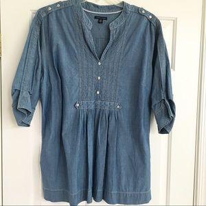 """TOMMY HILFIGER 2X Chambray Tunic Shirt-3/4"""" Sleeve"""